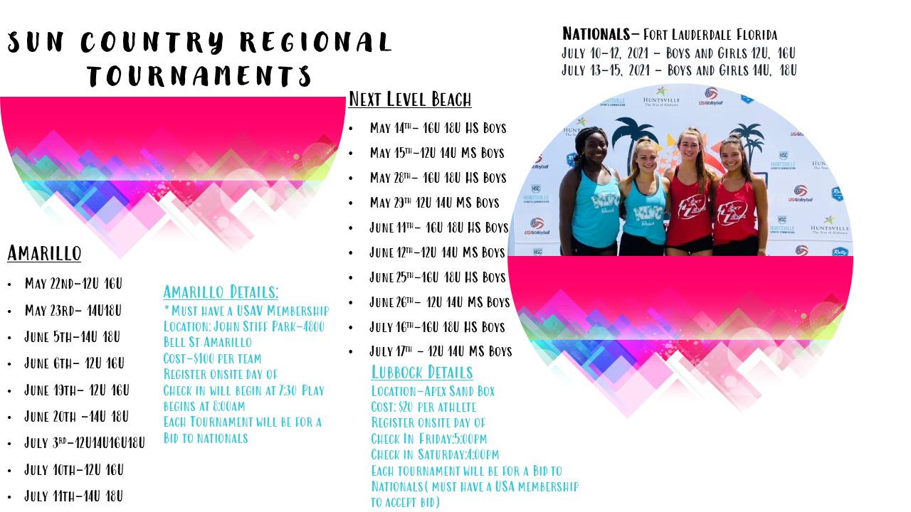 Sun Country regional Tournaments